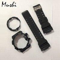 Mushi Watchbands Watch Strap Watch Case For Casio GA 400 g shock Black Transparent Blue Ga 400 Watch Accessories
