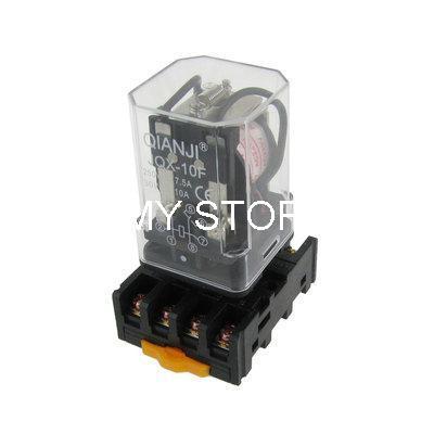 JQX-10F-2Z 12VDC/24VDC/110VAC/220VAC Coil Electromagnetic Relay DPDT 8 Pin w Socket Base ly2nj ac220v dc24v coil 2no 2nc 8pin power electromagnetic relay w ptf08a socket