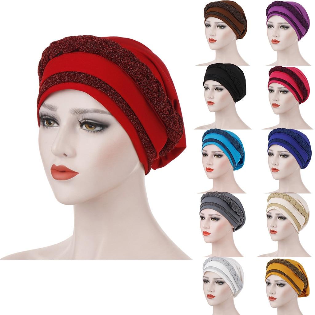 Women Muslim Cap Frontal Cross Bonnet Turban Hat Chemo Cap Head Scarf Headwrap Lady Headwear Cap Head Wrap Hair Accessories