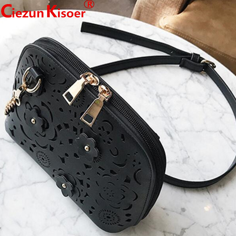 new fashion hollow shell small bag women slanting the chain small bag with the diamond flower single shoulder bag tigernu yuanyu 2018 new hot free shipping import crocodile women chain bag fashion leather single shoulder bag small dinner packages