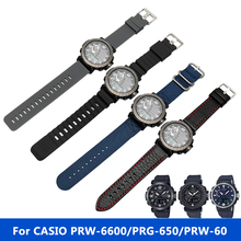 New High quality watchband for CASIO PRG-600YBE-5 PRW-6600 men watch nylon strap Rubber bracelet