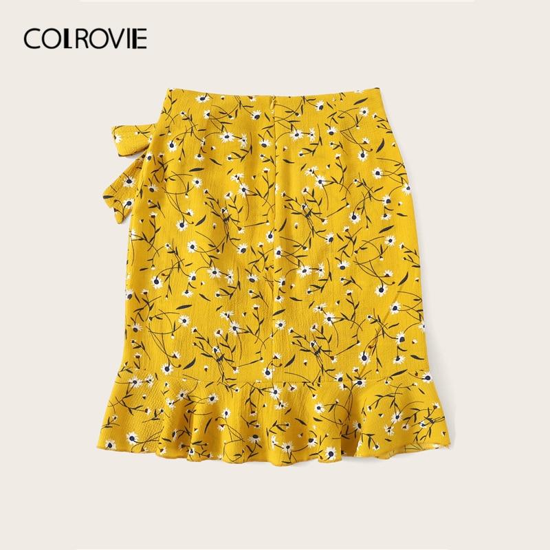 COLROVIE Yellow Ditsy Floral Ruffle Hem Knot Wrap Girly Boho Mini Skirt Women 2019 Summer Red Beach Holiday Wear Female Skirts