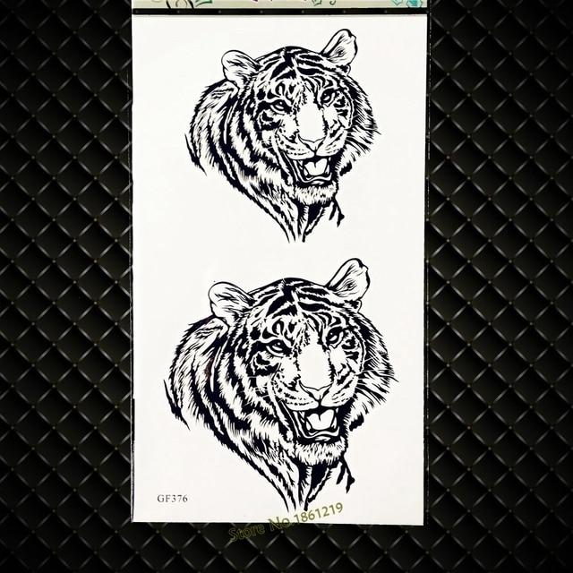 Autocollants De Tatouage Temporaire Tete De Tigre Roi Longue Duree