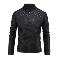 MASCUBE Men Winter Leather Jacket Slim Fit Stand Collar Vintage Fashion Black Motorcycle Leather Jackets Coats Drop Shipping