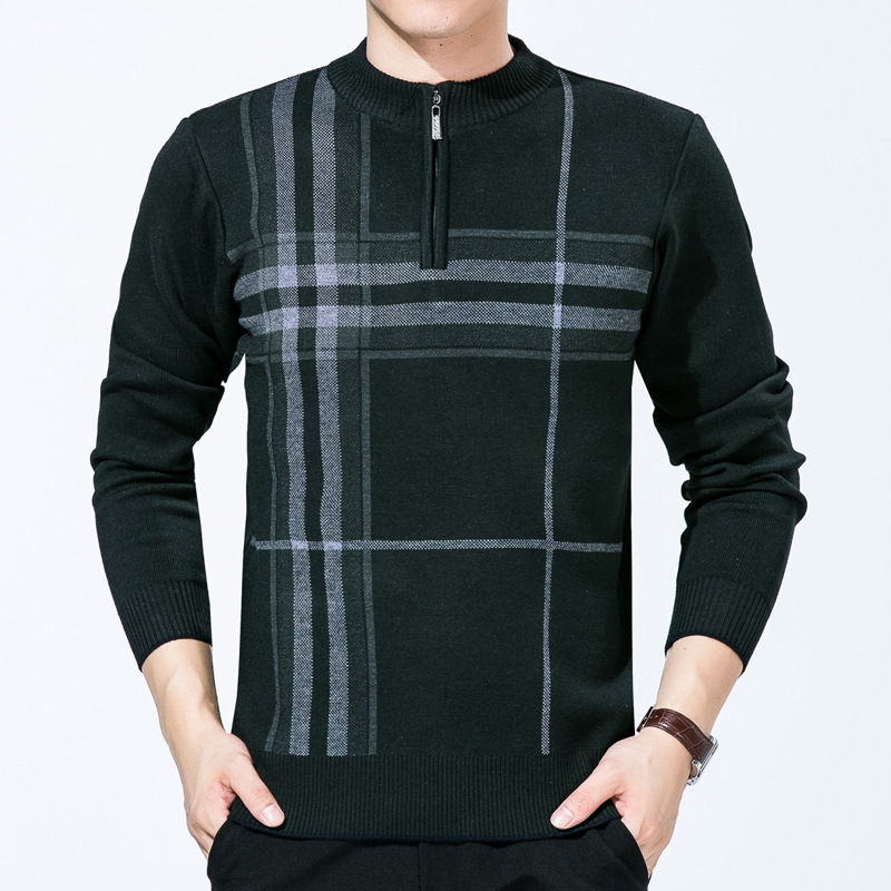 Brand Clothing New Men's Half Turtleneck Quarter Zip Sweater Mens Casual Slim Fit Mock Neck Zip Up Basic Designed Pullover Men