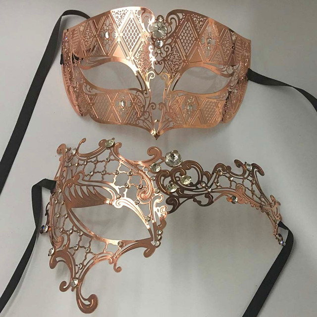 Rose Gold Couple Pair Lover Woman Men s Masquerade Mask Metal Venetian Prom  Mask For Ball XMAS Wedding Mardi Gras Party 7dd2a9a61595