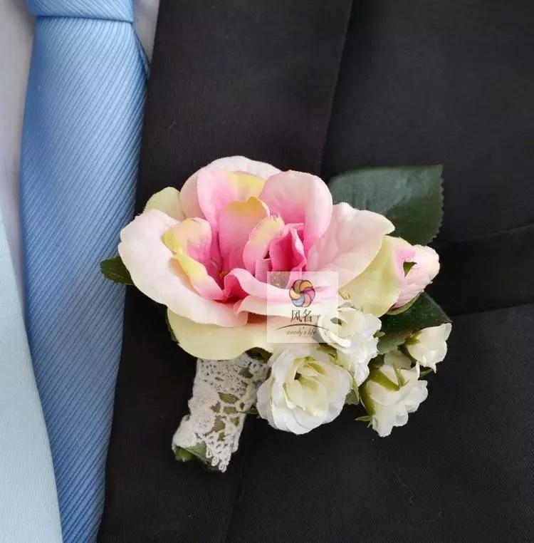 Wedding Flowers Men: 4 Pcs/ Lot DIY Rose Flower Corsage Pink Wedding Style