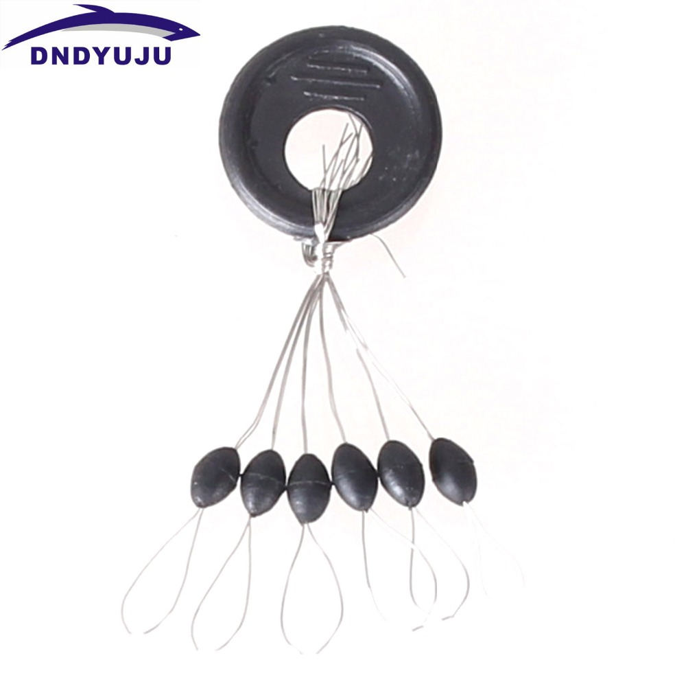 60 Pcs Float Black Rubber Stopper Fishing Bobber Stopper Oval Cylindrical Float Bean Space Fishing Line Tackle Accessories