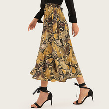 AcFirst Summer Yellow Sexy Women A-Line Mid-Calf Skirt Clothing Long Leopard Printed Sweet Skirts Beath Style