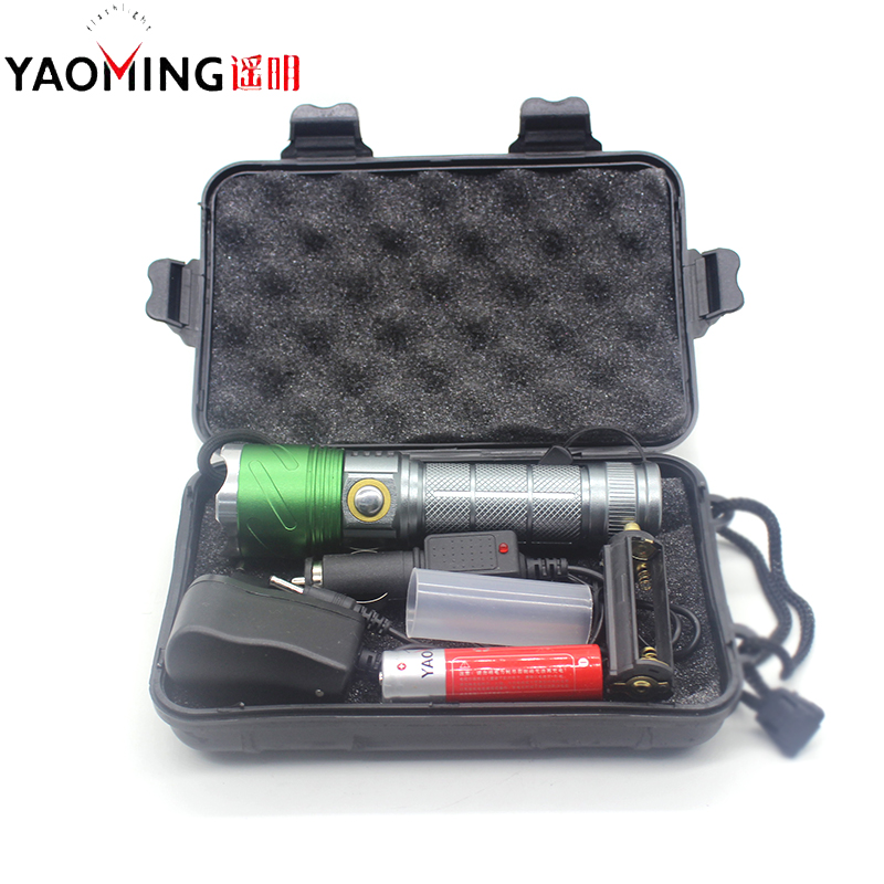 Gift box Cree Q5 395nm Ultra Violet Light Zoomable Led  UV Flashlight Purple Torch Lamp Blacklight+18650 battery+Charger