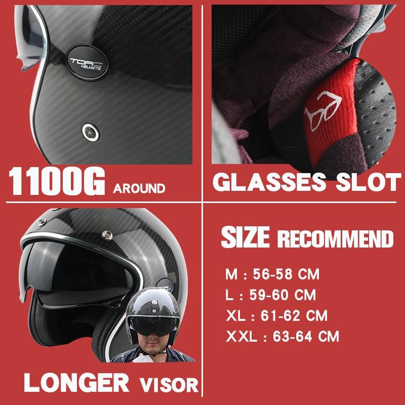 TORC brändi süsinikkiust MOTO kiiver casco capacetes vintage jet - Mootorrataste tarvikud ja osad - Foto 4