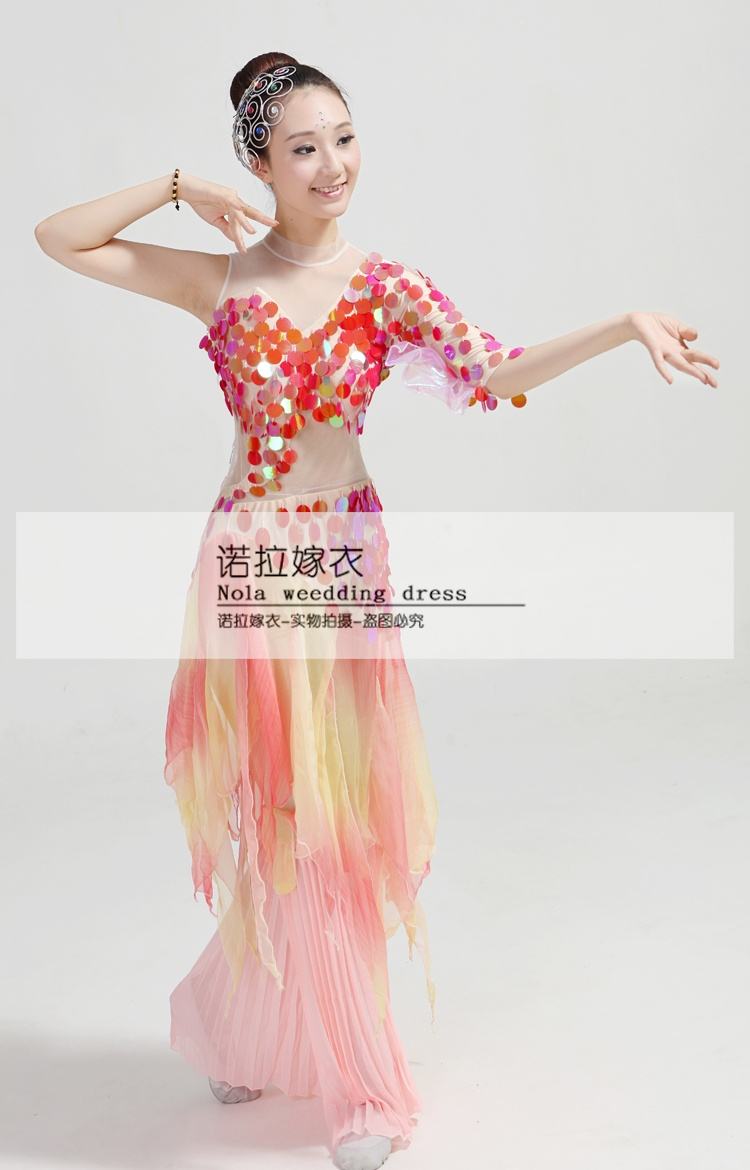 c4efef723492 Chinese classical dance clothing poetic myth rhinestone sequined fish dance  costumes national/fan/umbrella dance costumes