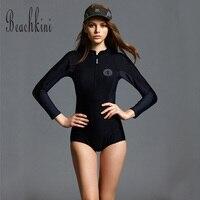 2017 New Women Sexy Front Zipper Swimsuit One Piece Sport Bathing Suit Long Sleeve Swimwear Surf