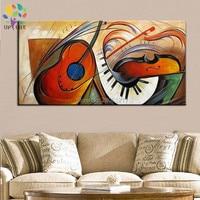 Handgeschilderde grote goedkope moderne woninginrichting kunst olieverf abstracte schilderijen muziekinstrumenten gitaar muur art