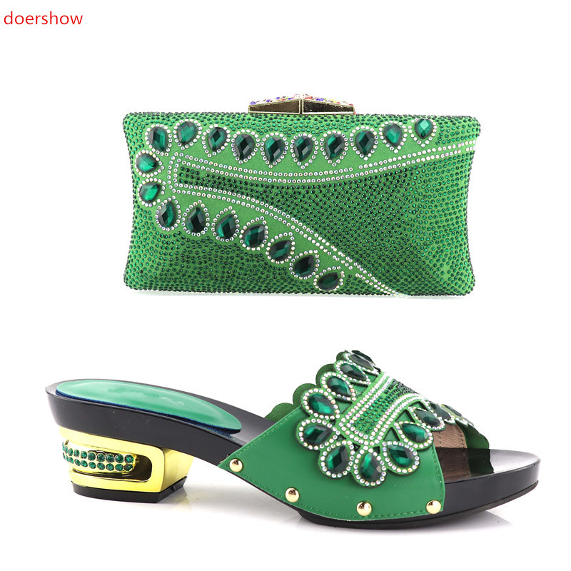 doershow Fashion Italian Shoes with Matching Bags Shoes and Bags To Match green Shoe and Bag Set for Party In Women XA05-51 doershow italian shoe with matching bag fashion lattice pattern italy shoe and bag to match african women shoes party hjj1 34