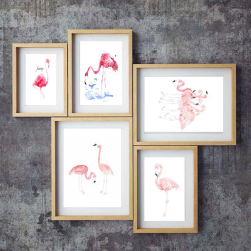 Nordic Cartoon Flamingo Wall Art Canvas Poster Prints Pink Minimalist Paintings Animal Wall Pictures for Living Room Home Decor in Painting Calligraphy from Home Garden
