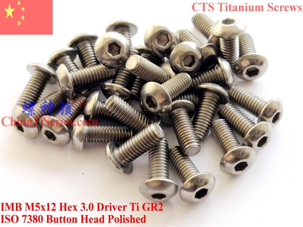 Titanium screws M5x12 ISO 7380 Button Head Hex 3.0 Driver Ti GR2 Polished 10 pcs 20pcs m3 6 m3 x 6mm aluminum anodized hex socket button head screw