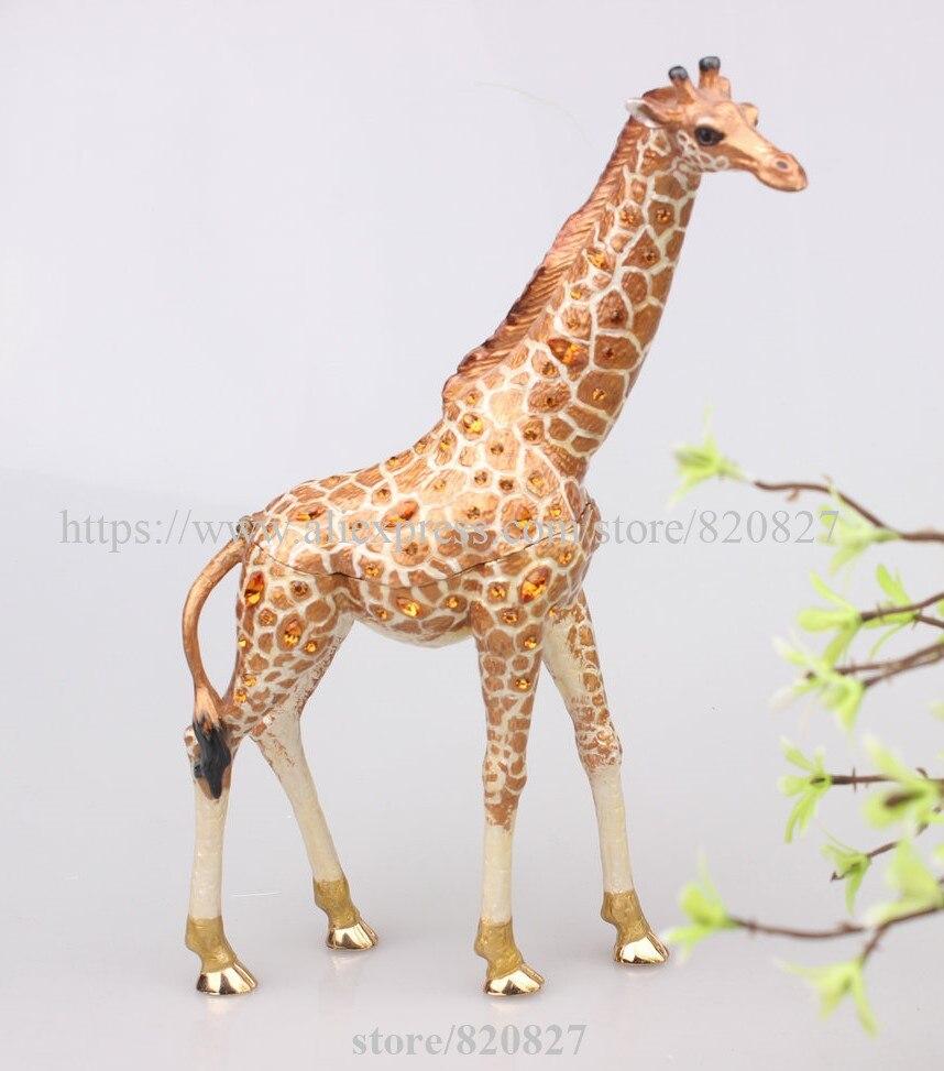 Collective Giraffe Trinket Box Gifts Pewter and Enamel Wild Animal Figurine Decor Animal Ring Holder Giraffe Novelty Trinket