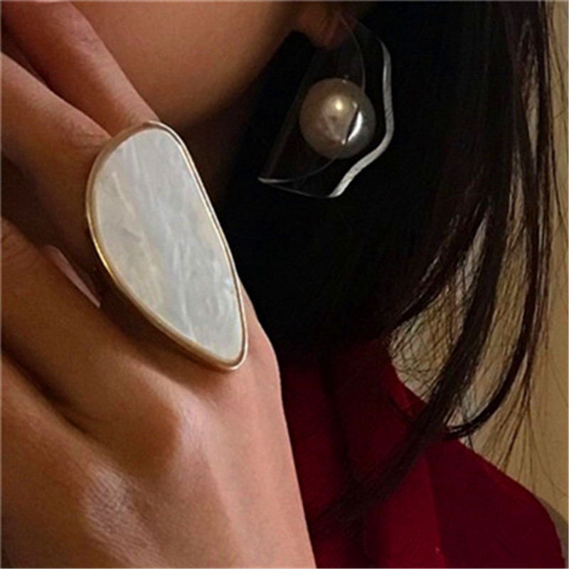 Fashion woman rings acetate plate The adjustable ring oval acrylic resin geometry rings Trendy Geometric Wedding