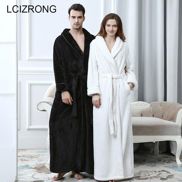 Зимняя пара коралловые флисовые халаты для женщин/мужчин теплое длинное соблазнительное кимоно Банный халат большого размера убранство халат подружки невесты Халаты женские