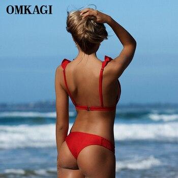 OMKAGI Brand Sexy Bikini 2018 Swimsuit Swimwear Women Push Up Bikinis Set Solid Swimming Bathing Suit Beachwear Summer Beach 1