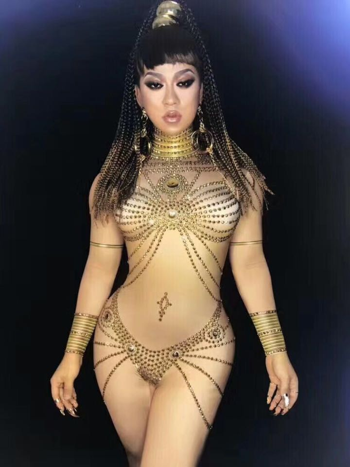 Women Nude Jumpsuit Stretch Costume Crystals Stone Sparkling Diamond Bodysuit Singer Dance Performance Party Wear Baalmar DJ DS