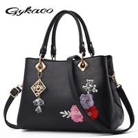 Gykaeo Luxury Handbags Women Bags for 2018 Shoulder Crossbody Bag Leather Designer Handbag High Quality Embroidery Flower Bag
