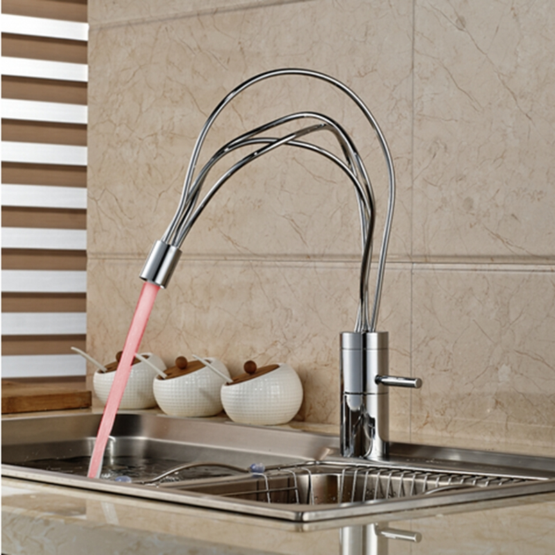 Modern Polish Chrome Kitchen Sink Faucet Vanity Single Handle Hold LED Color Changing Mixer Tap недорго, оригинальная цена