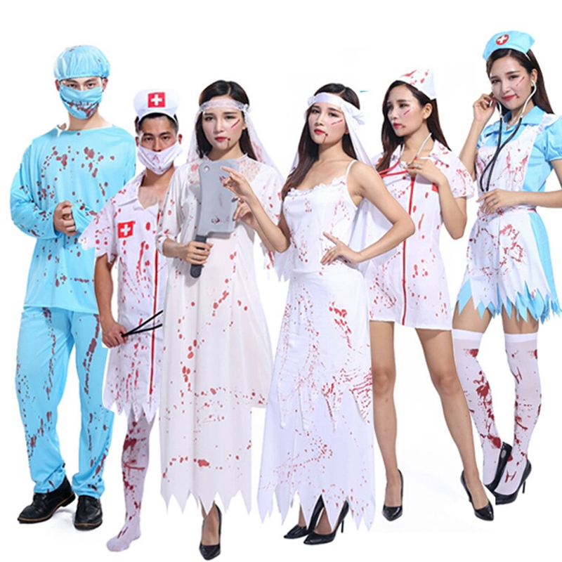 57f078295af6d Halloween horror costume cosplay blood stain nurse doctor costume horror  scientist sexual interest play clothing male surgeon se