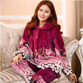 Autumn and winter pajamas coral fleece sleepwear female thickening flannel brand sleepwear long-sleeve set lounge
