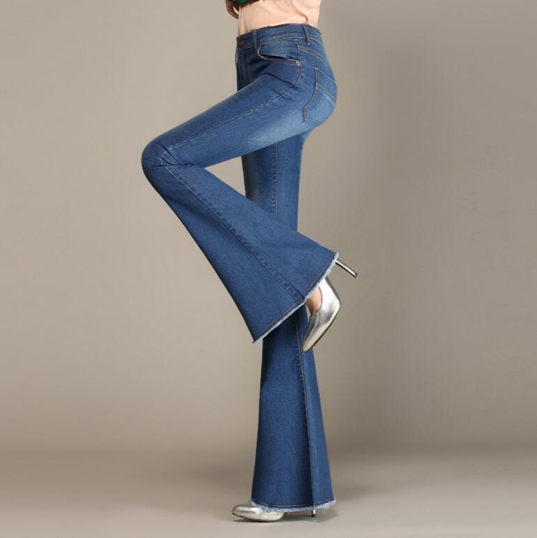 Autumn High Waist Flare   Jeans   Pants Plus Size Stretch Skinny   Jeans   Women Wide Leg Slim Hip Denim Boot Cuts s1057