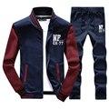 Men's Exercise Active Suit Sweatshirts Patchwork Men Hoodies Stand Collar Male Outwear Tracksuit + Pants 4XL