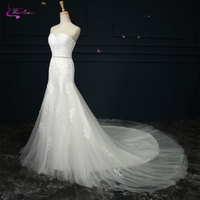 Waulizane Sleeveless Sweetheart Mermaid Wedding Dresses Beading Appliques Lace Natural Waistline Lace Court Train Bridal Gowns