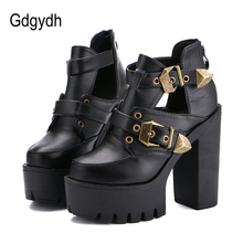 Gdgydh/2017 Весенне-осенние женские туфли-лодочки круглый носок платформа На высоких толстых каблуках женская обувь Повседневное вырезы с пряжкой размер 35-39