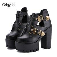 Gdgydh 2018 primavera otoño mujeres Bombas plataforma punta redonda gruesa Tacones altos mujeres Zapatos casual cut-outs moda hebilla tamaño 35-40