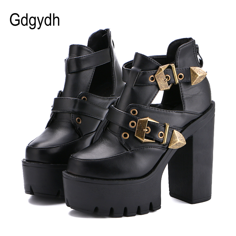 Gdgydh 2019 Spring Autumn Women Pumps Round Toe Platform Thick High Heels Women Shoes Casual Cut-outs Fashion Buckle Size 35-40