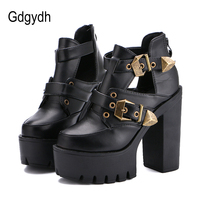 Gdgydh 2019 Spring Autumn Women Pumps Round Toe Platform Thick High Heels Women Shoes Casual Cut outs Fashion Buckle Size 35 40