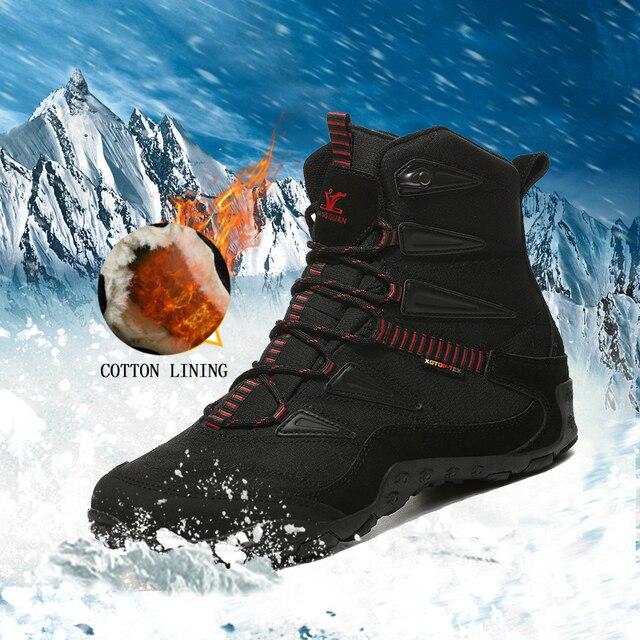 2018 novo inverno dos homens ao ar livre sapatos de desporto anti deslizamento sapatos de algodão forro caminhadas sapatos para homens quentes sapatos de trekking mulher