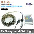 USB RGB LED Strip Light DC5V TV Background Lighting Non Waterproof Cuttable 20key Remote USB Cable 60LEDs/m 5050 backlight strip