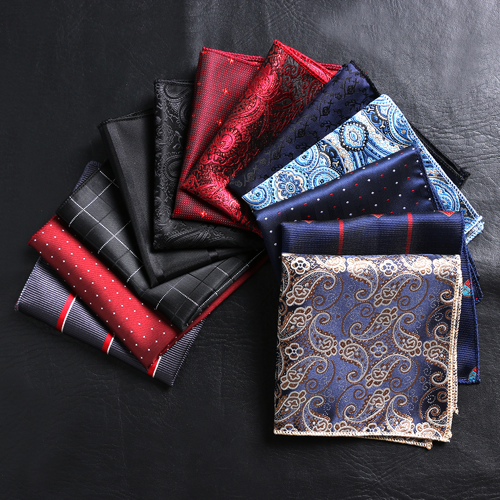 23*23cm Vintage Satin Embroidery Paisley For Men Business Handkerchief Pocket Square Floral Chest Towel Hankies Suit Accessories