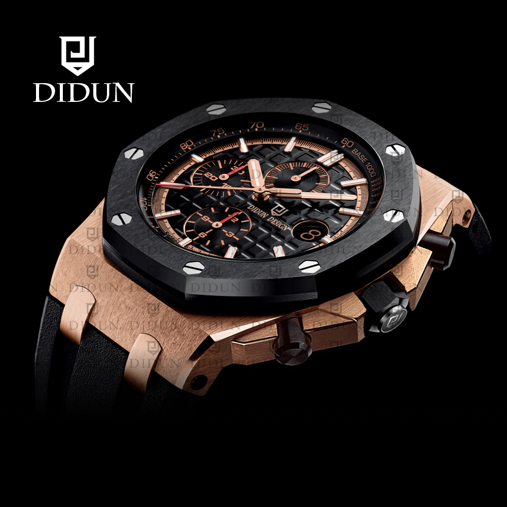 Mens Watches Top Brand Luxury DIDUN Military Sport Watch Stainless Steel Multi-function Quartz Clock Waterproof didun mens watches top brand luxury watches men steel quartz brand watches men business watch luminous wristwatch water resist