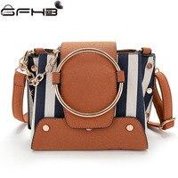 Panelled Striped Bucket Bags Women Handbags Famous Brands Michaeled Handbag Fashion Style Ring Design Leather Shoulder