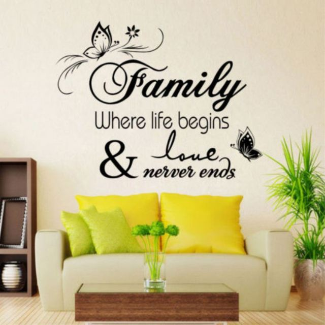 Wall sticker Family&Love stickers wall Quote Removable Art Vinyl ...