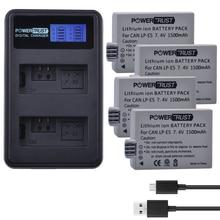 4Pcs 1500mAh LPE5 LP-E5 LP E5 Digital Battery + LCD USB Dual Charger for  Canon 450D 500D 1000D Kiss X2 X3 F Rebel XSi Xli XS