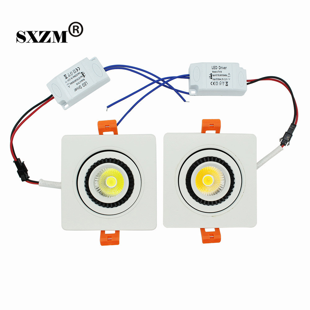 SXZM 7 W COB Piazza led soffitto luce da incasso a led riflettore bianco caldo/bianco/Bianco Naturale con LED Driver