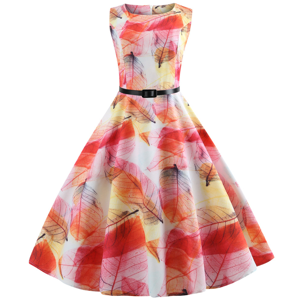 NoEnName_Null Fashion Women New Arrival Vintage Sleeveless O Neck Evening Printing Party Prom Swing Dress Female Natural Casual