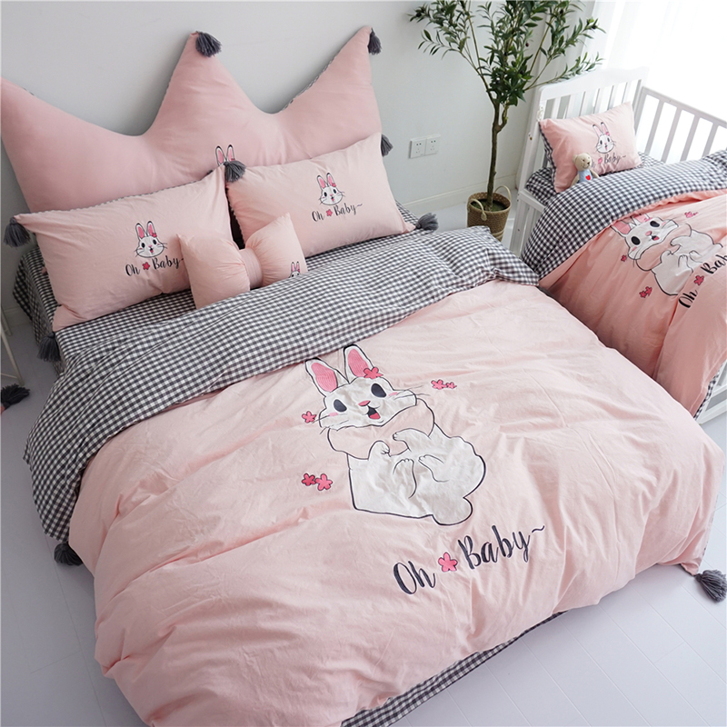 Pink White Cartoon Rabbit Embroidery Washed Cotton Girl Bedding Set Duvet Cover Bed Sheet/Linen Pillowcases Crown Big Backrest
