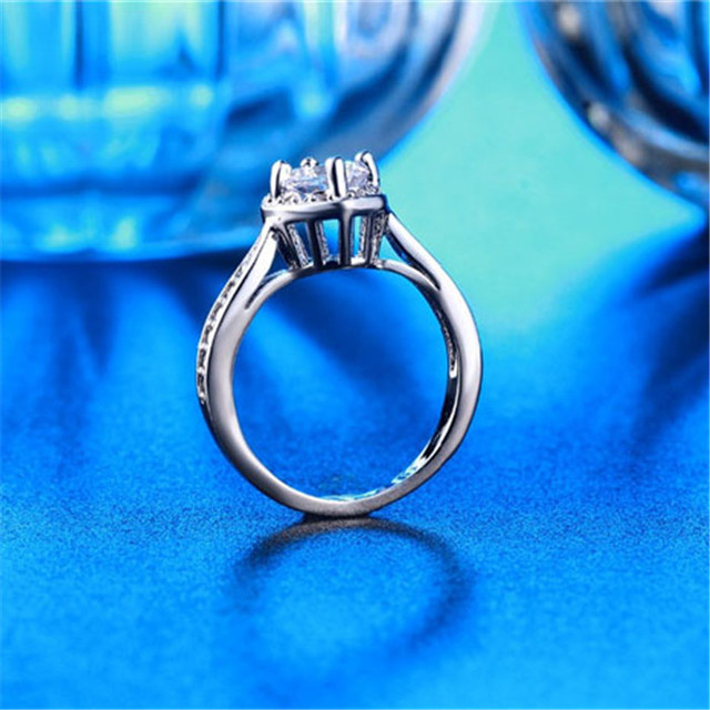 SHUANGR Big Heart CZ Jewelry Engagement Wedding Rings For Women Silver-Color Bague Luxury Bijoux Accessories Size 7/8/9