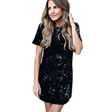 NEW Sequins Gold Dress Spring Summer Women Sexy Short T Shirt Dress Evening Party Elegant Club Dresses(China)