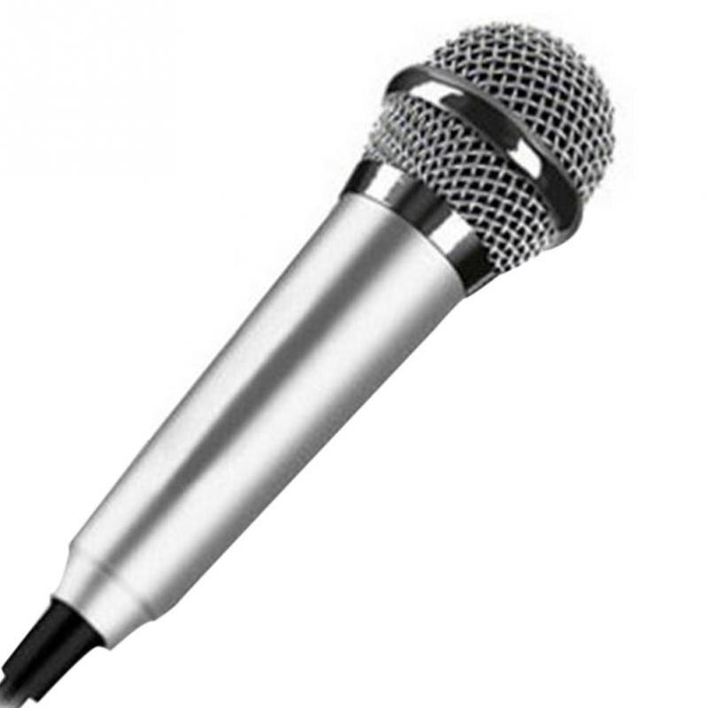 Портативный 3,5 мм стерео Студийный микрофон KTV Караоке мини микрофон для сотового телефона ноутбука ПК настольный 5,5 см* 1,8 см маленький размер микрофон - Цвет: Серебристый